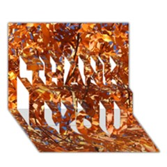 Orange Leaves Thank You 3d Greeting Card (7x5)
