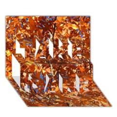 Orange Leaves Take Care 3d Greeting Card (7x5)  by trendistuff