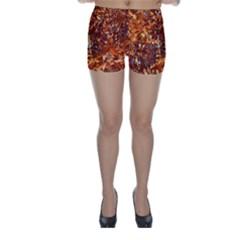 Orange Leaves Skinny Shorts by trendistuff