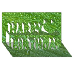 Green Leaf Drops Happy Birthday 3d Greeting Card (8x4)