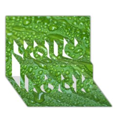 Green Leaf Drops You Rock 3d Greeting Card (7x5)  by trendistuff