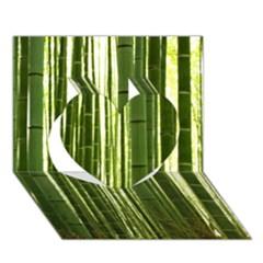 Bamboo Grove 2 Heart 3d Greeting Card (7x5)