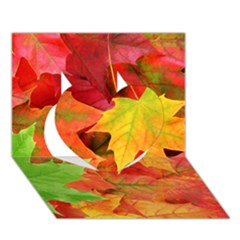 Autumn Leaves 1 Heart 3d Greeting Card (7x5)