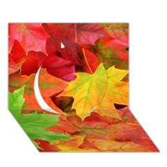 Autumn Leaves 1 Circle 3d Greeting Card (7x5)  by trendistuff