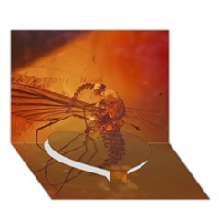 Mosquito In Amber Heart Bottom 3d Greeting Card (7x5)  by trendistuff