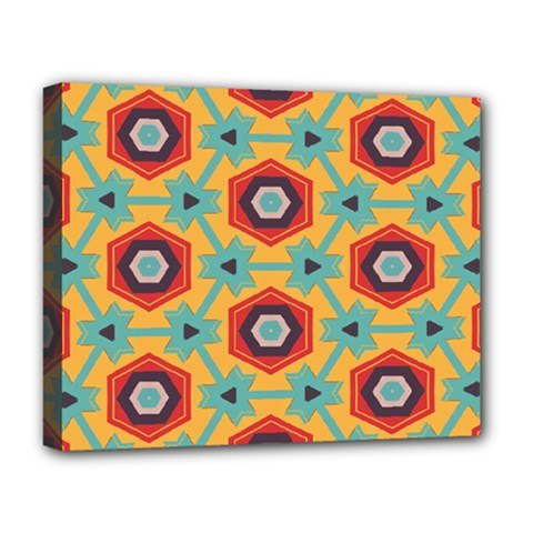 Stars And Honeycomb Pattern Deluxe Canvas 20  X 16  (stretched) by LalyLauraFLM