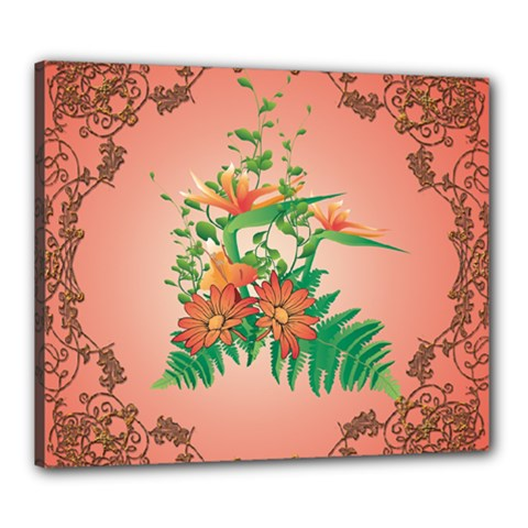 Awesome Flowers And Leaves With Floral Elements On Soft Red Background Canvas 24  X 20  by FantasyWorld7