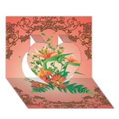 Awesome Flowers And Leaves With Floral Elements On Soft Red Background Heart 3d Greeting Card (7x5)  by FantasyWorld7