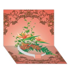 Awesome Flowers And Leaves With Floral Elements On Soft Red Background Circle Bottom 3d Greeting Card (7x5)