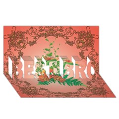 Awesome Flowers And Leaves With Floral Elements On Soft Red Background Best Bro 3d Greeting Card (8x4)