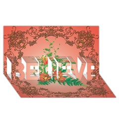 Awesome Flowers And Leaves With Floral Elements On Soft Red Background Believe 3d Greeting Card (8x4)  by FantasyWorld7