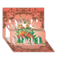 Awesome Flowers And Leaves With Floral Elements On Soft Red Background Get Well 3d Greeting Card (7x5)  by FantasyWorld7