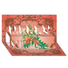 Awesome Flowers And Leaves With Floral Elements On Soft Red Background Merry Xmas 3d Greeting Card (8x4)  by FantasyWorld7