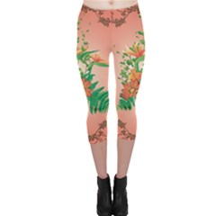 Awesome Flowers And Leaves With Floral Elements On Soft Red Background Capri Leggings by FantasyWorld7