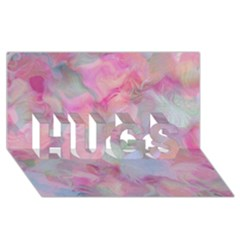 Soft Floral Pink Hugs 3d Greeting Card (8x4)