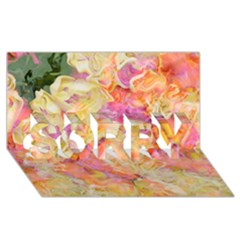 Soft Floral,roses Sorry 3d Greeting Card (8x4)