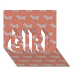 Cute Dachshund Pattern In Peach Girl 3d Greeting Card (7x5)