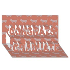 Cute Dachshund Pattern in Peach Congrats Graduate 3D Greeting Card (8x4)  by LovelyDesigns4U