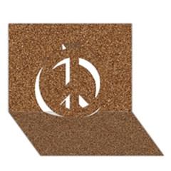 Dark Brown Sand Texture Peace Sign 3d Greeting Card (7x5)