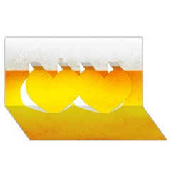 Beer Twin Hearts 3d Greeting Card (8x4)  by trendistuff