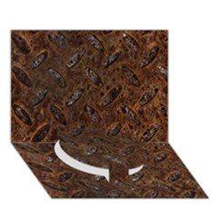 Rusty Metal Pattern Circle Bottom 3d Greeting Card (7x5)