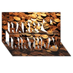 Pennies Happy Birthday 3d Greeting Card (8x4)