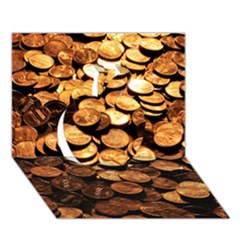 Pennies Apple 3d Greeting Card (7x5)
