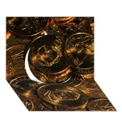 Gold Coins 2 Circle 3d Greeting Card (7x5)  by trendistuff