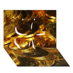 Gold Coins 1 Clover 3d Greeting Card (7x5)