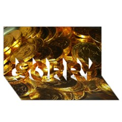 Gold Coins 1 Sorry 3d Greeting Card (8x4)