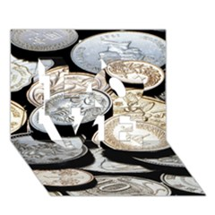 Foreign Coins Love 3d Greeting Card (7x5)  by trendistuff