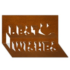 Brown Leather Best Wish 3d Greeting Card (8x4)