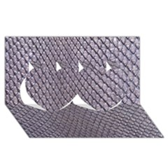 Silver Snake Skin Twin Hearts 3d Greeting Card (8x4)