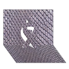 Silver Snake Skin Ribbon 3d Greeting Card (7x5)
