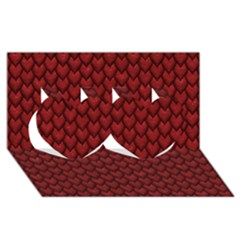 Red Reptile Skin Twin Hearts 3d Greeting Card (8x4)