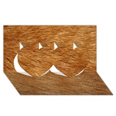 Light Brown Fur Twin Hearts 3d Greeting Card (8x4)