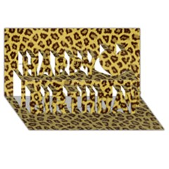 Leopard Fur Happy Birthday 3d Greeting Card (8x4)