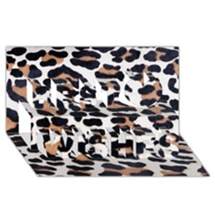 Black And Brown Leopard Best Wish 3d Greeting Card (8x4)