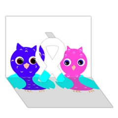 Owl Couple  Ribbon 3d Greeting Card (7x5)