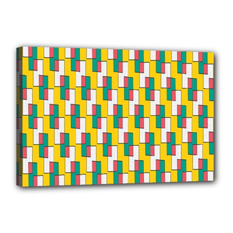 Connected Rectangles Pattern Canvas 18  X 12  (stretched) by LalyLauraFLM