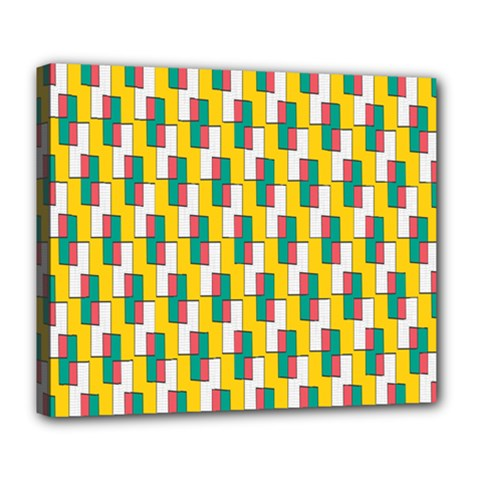 Connected Rectangles Pattern Deluxe Canvas 24  X 20  (stretched) by LalyLauraFLM
