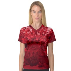 Red Tinted Roses Collage 2 Women s V-Neck Sport Mesh Tee by LovelyDesigns4U