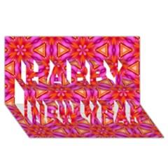 Cute Pretty Elegant Pattern Happy New Year 3d Greeting Card (8x4)  by creativemom