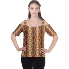 Faux Animal Print Pattern Women s Cutout Shoulder Tee by creativemom