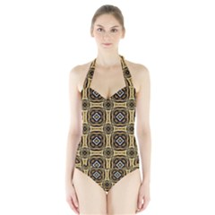 Faux Animal Print Pattern Women s Halter One Piece Swimsuit
