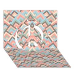 Trendy Chic Modern Chevron Pattern Peace Sign 3d Greeting Card (7x5)