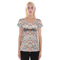 Trendy Chic Modern Chevron Pattern Women s Cap Sleeve Top by creativemom