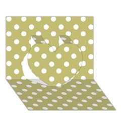 Lime Green Polka Dots Heart 3d Greeting Card (7x5)