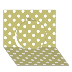 Lime Green Polka Dots Circle 3d Greeting Card (7x5)