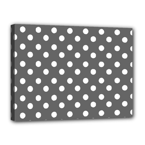 Gray Polka Dots Canvas 16  X 12